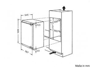 Maattekening BAUKNECHT koelkast inbouw KVIE1104/A++
