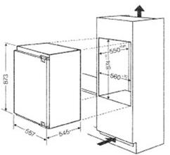 Maattekening BAUKNECHT koelkast inbouw KVIE7887/A++