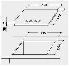 Maattekening BAUKNECHT kookplaat inbouw TGW6575IXL
