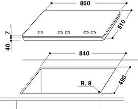Maattekening BAUKNECHT kookplaat inbouw TGW6595IXL