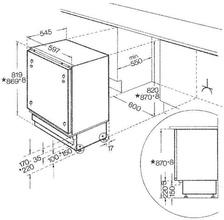 Maattekening BAUKNECHT vrieskast onderbouw UGI1041/A+