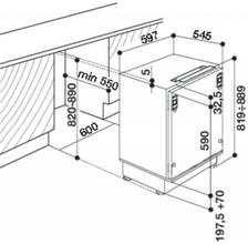 Maattekening BAUKNECHT koelkast onderbouw UVI1341/A+