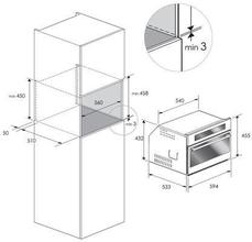 Maattekening BORETTI oven inbouw zwart BPON45ZWGL