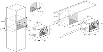 Maattekening BORETTI koelkast inbouw wijn zwart BPWKN45ZWGL L/R