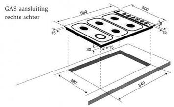 Maattekening BORETTI kookplaat frytop GK907IX