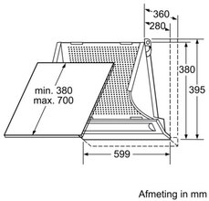 Maattekening BOSCH afzuigkap geintegreerd DHE655M