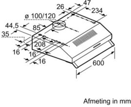 Maattekening BOSCH afzuigkap onderbouw wit DHU642D