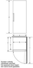 Maattekening BOSCH vrieskast rvs-look GSN29VL30