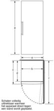 Maattekening BOSCH vrieskast wit GSN54AW41