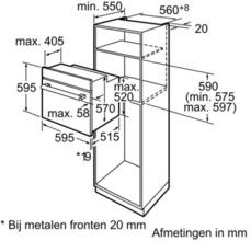 Maattekening BOSCH oven inbouw HBA23B150E