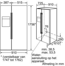 Maattekening BOSCH koelkast side-by-side rvs KAD62P91