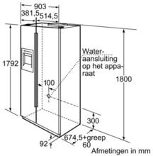 Maattekening BOSCH koelkast side-by-side zwart KAN58A55