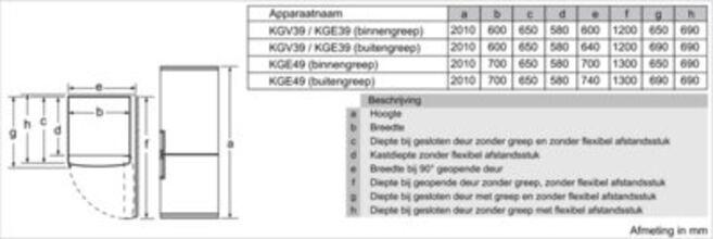 Maattekening BOSCH koelkast rvs KGE39EI43