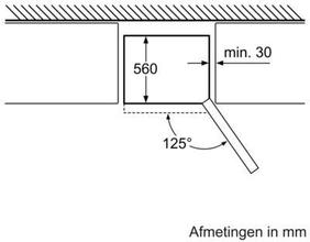 Maattekening BOSCH koelkast rvs/glas KGN36SM30