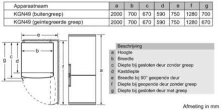 Maattekening BOSCH koelkast zwart KGN49SB31