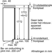 Maattekening BOSCH koelkast inbouw KIF40P60