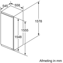 Maattekening BOSCH koelkast inbouw KIL72AD30
