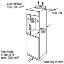 Maattekening BOSCH koelkast inbouw KIR18E62
