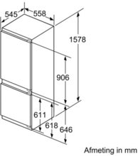 Maattekening BOSCH koelkast inbouw KIS77AD40