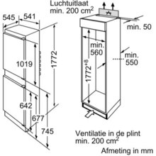Maattekening BOSCH koelkast inbouw KIV34V21FF