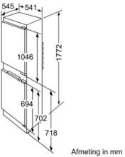 Maattekening BOSCH koelkast inbouw KIV34V50