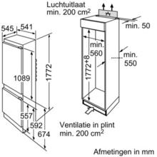 Maattekening BOSCH koelkast inbouw KIV38V20FF