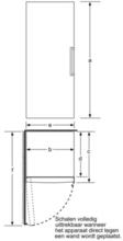 Maattekening BOSCH koelkast rvs KSW36PI30