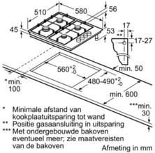Maattekening BOSCH gaskookplaat PBP615B90N