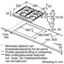 Maattekening BOSCH gaskookplaat PCP6E5C90N
