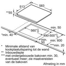 Maattekening BOSCH kookplaat inductie PIB645F17M