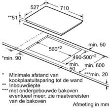 Maattekening BOSCH kookplaat inductie PIB775N17E