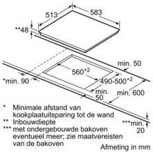Maattekening BOSCH kookplaat keramisch PKE645F17E