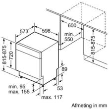 Maattekening BOSCH vaatwasser onderbouw SMU69N45EU