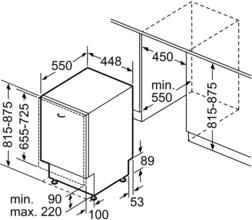 Maattekening BOSCH vaatwasser inbouw SPV2IKX10E