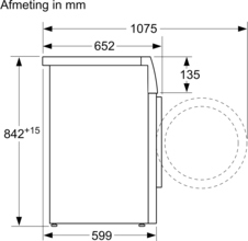 Maattekening BOSCH droger warmtepomp WTH85V90NL