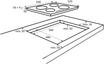 Maattekening INVENTUM kookplaat inductie inbouw IKI6035