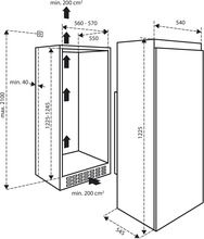 Maattekening INVENTUM koelkast inbouw IKK1221D