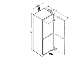 Maattekening LIEBHERR koelkast rvs CNPef4833-20