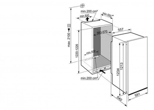 Maattekening LIEBHERR koelkast inbouw DRe4101-20