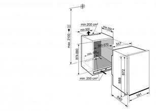 Maattekening LIEBHERR koelkast inbouw DRF3901-20