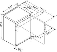 Maattekening LIEBHERR vrieskast tafelmodel GP1496-20