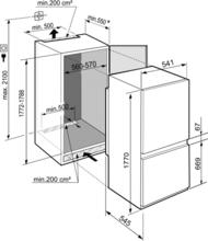 Maattekening LIEBHERR koelkast inbouw ICBNSe5123-20