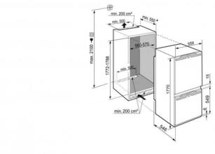 Maattekening LIEBHERR koelkast inbouw ICBd5122-20