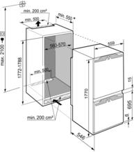 Maattekening LIEBHERR koelkast inbouw ICNf5103-20