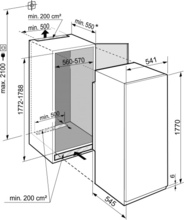 Maattekening LIEBHERR koelkast inbouw IRBSe5120-20