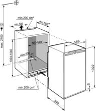 Maattekening LIEBHERR koelkast inbouw IRBd4020-20