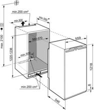 Maattekening LIEBHERR koelkast inbouw IRBd4120-20