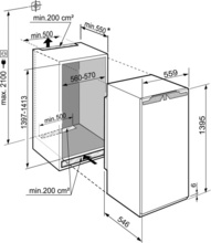 Maattekening LIEBHERR koelkast inbouw IRe4520-20