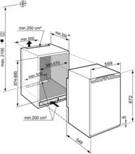 Maattekening LIEBHERR koelkast inbouw IRf3900-20