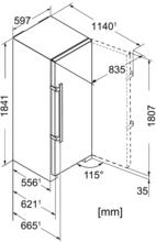Maattekening LIEBHERR vrieskast SGNef3036-22
